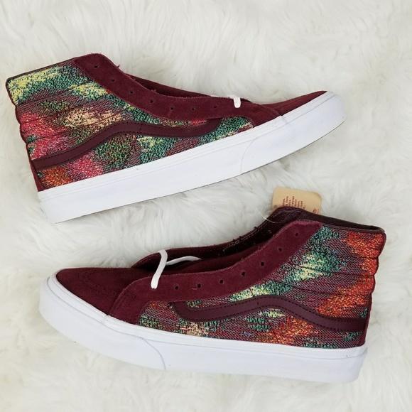 38b3da2c56 Vans SK8-Hi Slim Italian Weave Red Suede Shoes